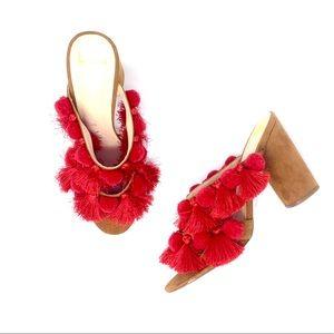 Anthropologie Red Mules Tassel Heels Sandals